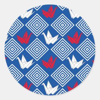 Japanese Origami Cranes Pattern (Orizuru) Round Sticker