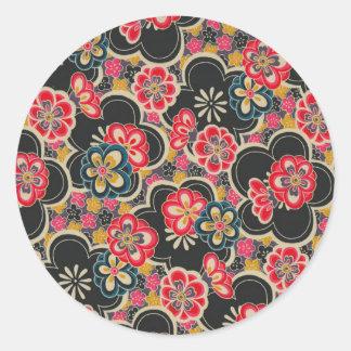 Japanese Origami Design Multi-Color Flowers Kimono Round Sticker
