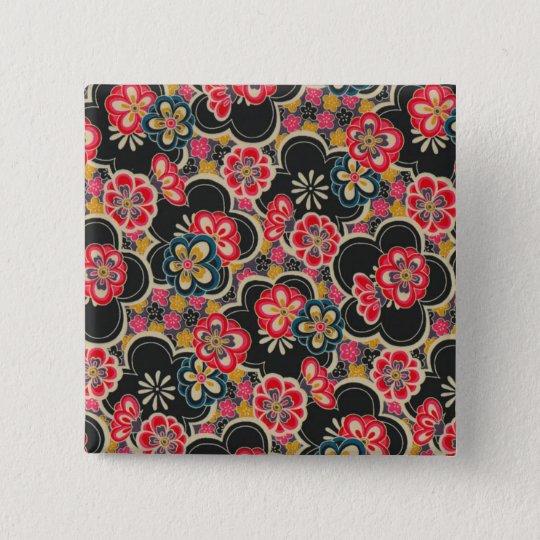 Japanese Origami Design Multi-Colour Flowers 15 Cm Square Badge