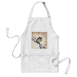 JAPANESE OWL WOODCUT ART APRONS