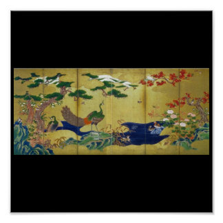 Japanese Painting c 1500 s Peacock Posters