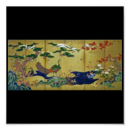 Japanese Painting c. 1500's Peacock Poster