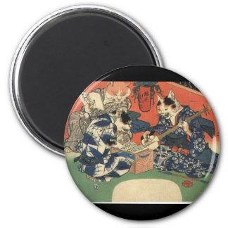 Japanese Painting c. 1800's 6 Cm Round Magnet