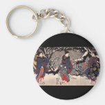 Japanese Painting c. 1800's Basic Round Button Key Ring