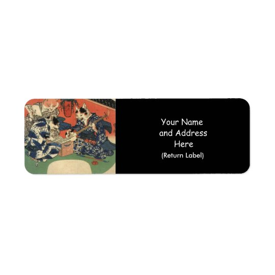 Japanese Painting c. 1800's Return Address Label