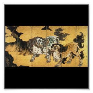 Japanese Painting of Chinese Lions c 1500 s Posters