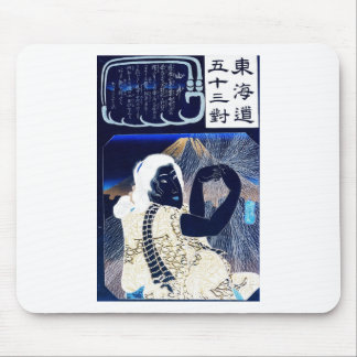 Japanese Painting of woman and Mt. Fuji c. 1800's Mouse Pad
