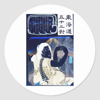Japanese Painting of woman and Mt. Fuji c. 1800's Round Stickers