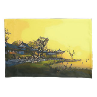 Japanese Palace Watercolor Art Pillowcase