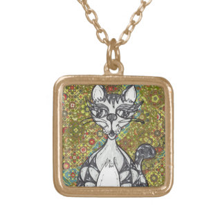 Japanese Paper Cat 2 Gold Plated Necklace
