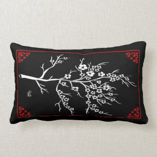 Japanese Paper Cutting Cherry Tree Lumbar Cushion