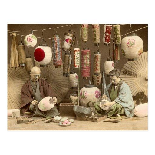 Japanese Paper Lantern Makers, Vintage Photo Post Card