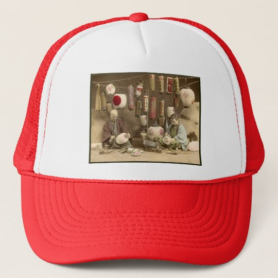 Japanese Paper Lantern Makers, Vintage Photo Trucker Hat