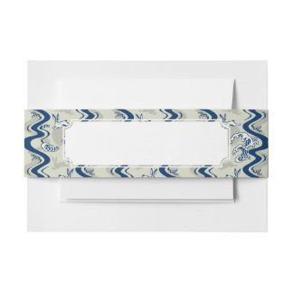 Japanese pattern with moon rabbits invitation belly band