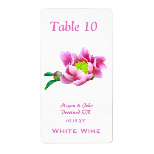 Japanese Peony Wedding Wine Label