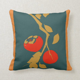 Japanese Persimmon on Teal Cushion
