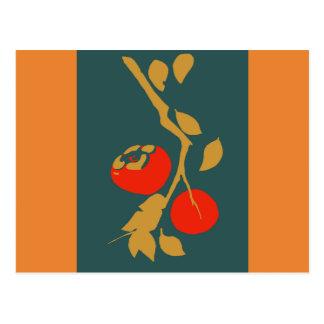 Japanese Persimmon on Teal Postcard
