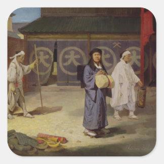 Japanese Pilgrim returning from Mount Fusi Yama Square Sticker