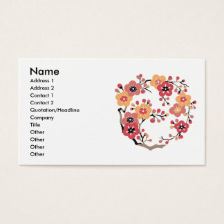 Japanese Plum blossoms Circle Business Card