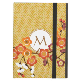 Japanese Plum Blossoms Gold Orange Red Geometric Case For iPad Air
