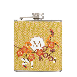 Japanese Plum Blossoms Gold Orange Red Geometric Hip Flask