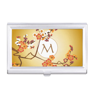 Japanese Plum Blossoms Moon Gold Orange Red Branch Business Card Cases