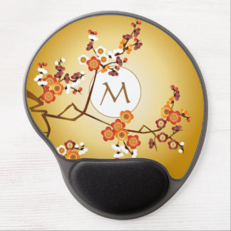 Japanese Plum Blossoms Moon Gold Orange Red Branch Gel Mouse Mat