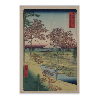 Japanese Print Shows View of Mount Fuji