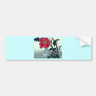 Japanese print with sparrow chrysanthemum moth bumper sticker