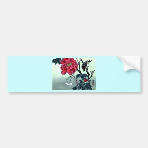 Japanese print with sparrow chrysanthemum moth bumper sticker