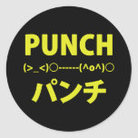 Japanese Punch Emoticons Round Stickers