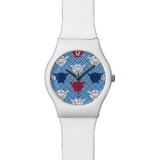 Japanese rabbit print, blue with red and white watch