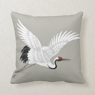 Japanese Red Crowned Crane Fine Art Throw Cushions