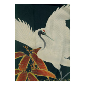 Japanese Red Crowned Crane Vintage Fine Art Poster