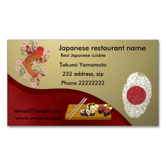 Japanese restaurant 	Magnetic business card