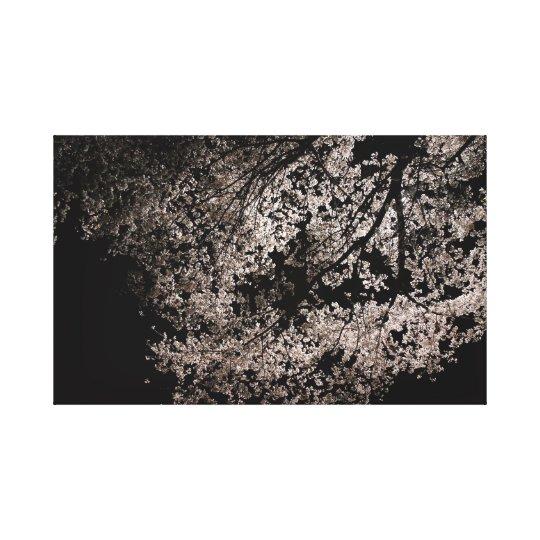 Japanese Sakura at Night. Cherry Blossoms. Spring. Canvas