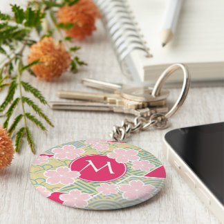 Japanese Sakura Cherry Blossoms Geometric Patterns Basic Round Button Key Ring