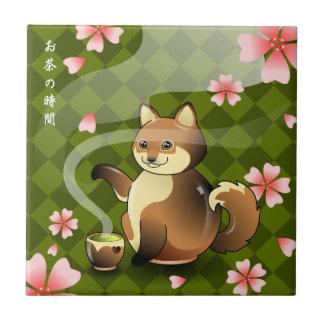 Japanese Sakura Kitsune Fox Sakura Teapot Rest Small Square Tile