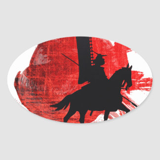 Japanese Samurai Oval Sticker