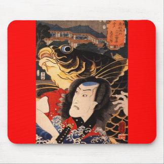Japanese Samurai Painting c. 1800's Mouse Mat