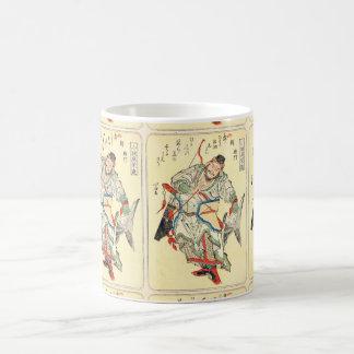 Japanese Samurai Warrior sketch tattoo Hokusai Basic White Mug