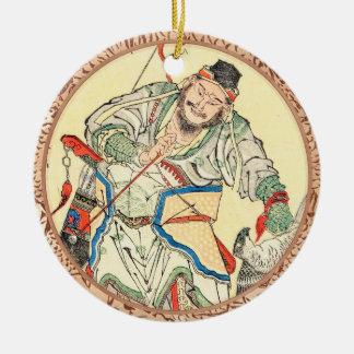 Japanese Samurai Warrior sketch tattoo Hokusai Round Ceramic Decoration