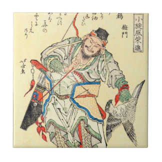Japanese Samurai Warrior sketch tattoo Hokusai Small Square Tile