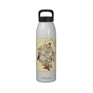 Japanese Samurai Warrior sketch tattoo Hokusai Drinking Bottle