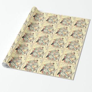 Japanese Samurai Warrior sketch tattoo Hokusai Wrapping Paper
