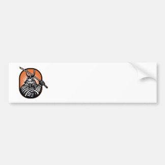 Japanese Samurai Warrior Sword Retro Bumper Sticker
