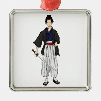 Japanese Samurai Warrior with Katana Sword Silver-Colored Square Decoration