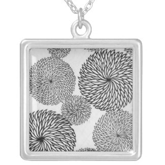 Japanese School's Chrysanthemums Silver Plated Necklace