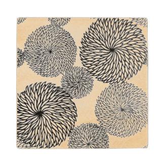 Japanese School's Chrysanthemums Wood Coaster