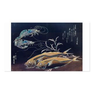 Japanese Sea Life Painting circa 1800 s Business Card